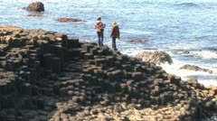 Giant's Causeway Tourist Visit Stock Footage