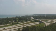 Aerial View of Lake Huron in St. Ignace Michigan, Version 1 of 3 Stock Footage