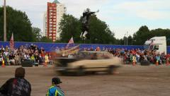 Stunt man and car in a stunt show Stock Footage