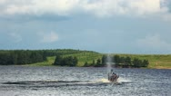 Jet-ski on lake in summer day Stock Footage