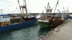 Fishing Trawler Tying UP (full sequence) Stock Footage