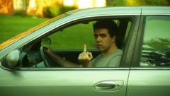 Sad road rage funny fuck you Stock Footage