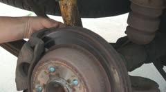 Working on car brake disc Stock Footage