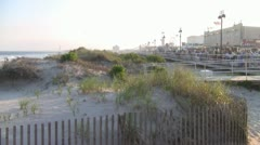 Ocean City New Jersey Dunes and Boardwalk Stock Footage