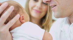 Close Up Young Father New Baby - stock footage