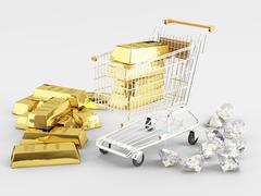 Gold and diamonds Stock Illustration