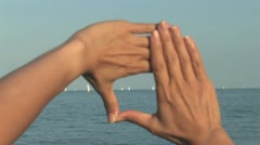 Hands Cropping the View Stock Footage