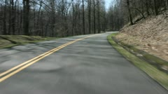 An accelerated point-of-view shot of driving on a highway in the Blue Ridge Stock Footage