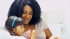 Pre School Child Giggling Young Mom - stock footage