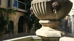 A fountain in the village of Venasque Stock Footage
