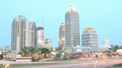 Lights illuminate downtown Atlanta, Georgia as the evening fades into night. Stock Footage
