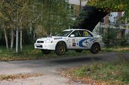 Stock Photo of Subaru Impreza rally stage jump