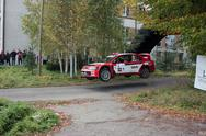 Stock Photo of Mitsubishi jump on rally tarmac stage