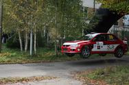Stock Photo of Rally stage trampeline jump Mitsubishi