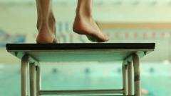 man in the pool getting ready to jump - stock footage