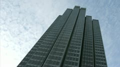 Thin clouds stream over an Embarcadero Center building in San Francisco. Stock Footage