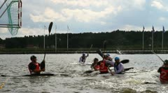 Scoring a goal in kayak polo Stock Footage