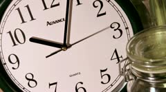 A second hand moves counterclockwise, as minute and hour hands rapidly mark time - stock footage