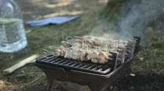 Barbecue small grill Stock Footage