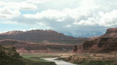 Storm clouds settle over the Colorado River in Glen Canyon National Recreation Stock Footage