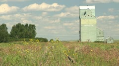 Grain elevator Herronton and abandon rail line, medium shot Stock Footage