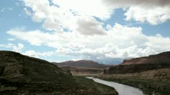 Time-lapse shot of clouds passing over the Colorado River in Glen Canyon Stock Footage