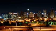denver at night slow pan time-lapse 1080p - stock footage