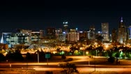 Stock Video Footage of denver at night slow pan time-lapse 1080p