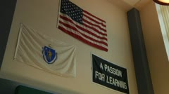 Flags on Wall of School Library Stock Footage