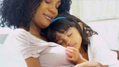 Cute Ethnic Girl Sleeping Mothers Shoulder Stock Footage