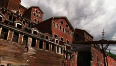 Kennecott Mine low angle pan left - stock footage