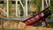 Line of red roller coaster rail Stock Footage