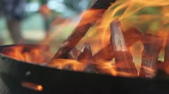 Barbecue (starting a fire) Stock Footage