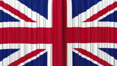 United Kingdom flag curtain, Opening and closing 3d animation, HD Stock Footage