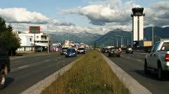 Anchorage Traffic Merrill Field Tower Glenn Hwy E 5th Ave east Stock Footage