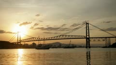 Hercilio Luz Bridge at Sunset Time-Lapse - stock footage