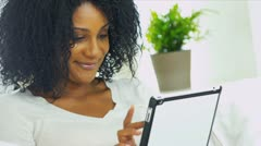 Pretty African American Girl Technology Leisure Stock Footage