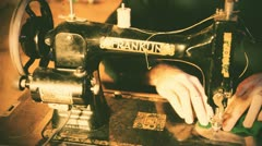 Old film sewing machine antique Stock Footage