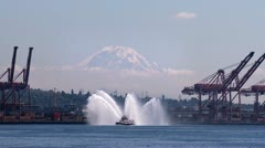 Fireboat and Mt Rainier, Seattle Stock Footage