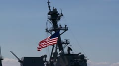 Flag flying on battleship, US Stock Footage