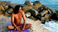 Stock Video Footage of yoga breathing exercise
