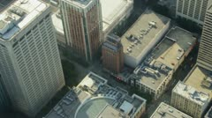 Slow-Motion Overhead Aerial View of Downtown Buildings - stock footage