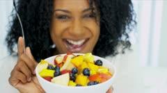 Beautiful Ethnic Female Enjoying Healthy Fresh Fruit Stock Footage