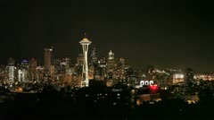 Seattle Skyline Night - stock footage