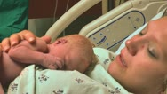 Mother sees newborn baby first time 02 Stock Footage