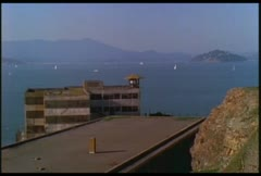 Angle over rooftop of Alcatraz. Stock Footage