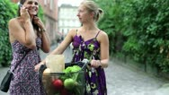 Two happy women with bicycle talking on mobilephone Stock Footage