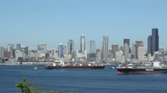 Seattle Skyline Cargo Freighters Stock Footage