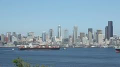 Seattle Skyline Cargo Freighter - stock footage