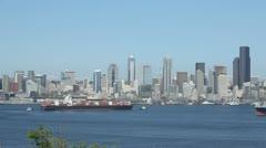 Seattle Skyline Cargo Freighter Stock Footage